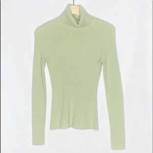 AQUA cashmere ribbed turtleneck sweater green